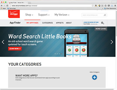 Screenshot of VerizonWireless.com featuring Word Search Little Books